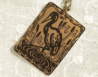 Crane Necklace - Etched Fused Glass on Bronze Jewelry