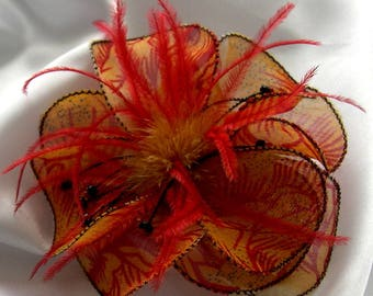 Small flower fabric & feather hair clip and 109 beads
