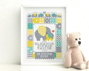 Elephant Birth Sampler - Customisable Cross Stitch Pattern (Digital Format - PDF)