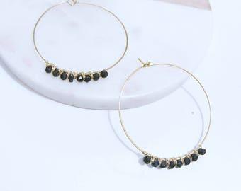 Black Tourmaline Hoop Earrings / Medium, Gold Filled, Round, Thin / Anabel Nove