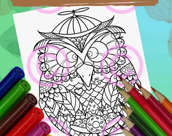 Whimsical Baby Owl in the Egg Goofy Chubby Owl Zendoodle Tangles Coloring Page for Adult Coloring and all ages