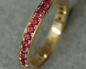 Ring of 585 gold with rubies