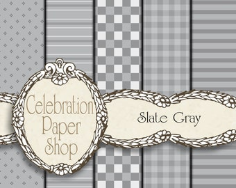 Gray Digital Paper, Paper Patterns, Digital Download for Paper Crafts, Scrapbook Paper, Digital Scrapbook Paper & Background Paper.