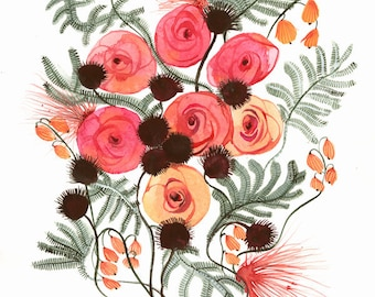 Spring No. 2 archival print of original painting, contemporary botanical