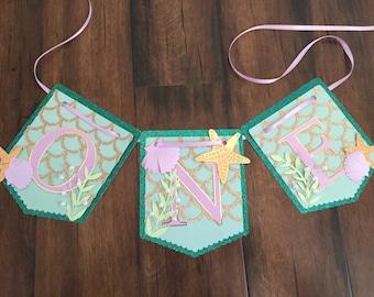 Mermaid highchair banner, first birthday banner