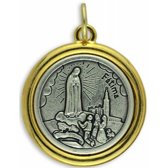 Our Lady of Fatima Medal Pendant- Italian made - silver and gold tone - 18  inch stainless steel chain