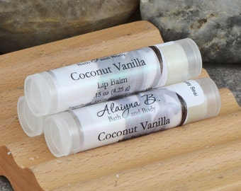 Coconut Vanilla Flavored Lip Balm with Cocoa Butter