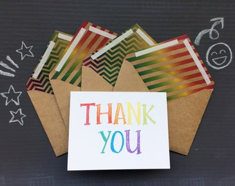 Rainbow Thank You Cards with mixed print envelope linings | set of 4