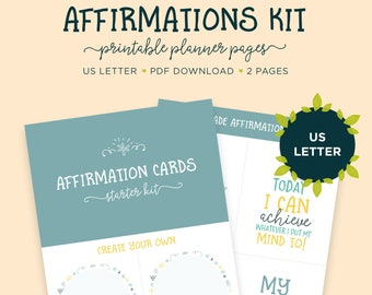 Affirmations Kit, US Planner, Self Care, Mental Wellbeing, Affirmation Cards, Printable Planner, Letter Size, Planner Insert, Positivity Kit