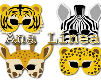P03 JUNGLE masks ready to print, cut and wear in your animal party