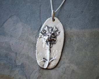 Wild Mint Necklace, Plant Necklace, Fine Silver, Botanical Necklace, Flower Necklace, Artisan Necklace, Wildflower Pendant, Nature Necklace