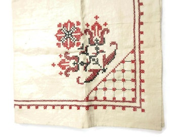 Vintage Cross Stitch Linen Tablecloth - red, floral - retro, linens, table cover, kitchen, farmhouse, handmade, needlework, flowers