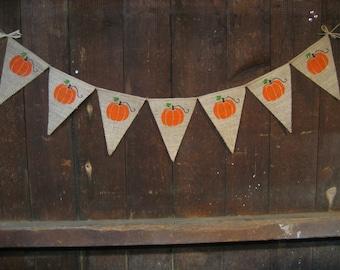 Thanksgiving Decor, Halloween Banner, Fall Banner, Thanksgiving Banner, Garland, Burlap Banner Bunting, Rustic Fall Decor, Pumpkin Banner