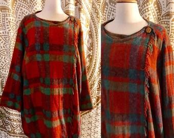 VTG 70s Plaid WOOL Fringe Cape Poncho Jacket Hippie Coat L