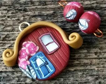 Polymer Clay Pendant,Fairy Pendant,House Pendant,Polymer Charm, Clay Charm,Artisan Charm,Clay Pendant,Tiny House