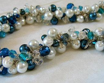 OCEAN, Teal Blue Green, Aqua Marine, White Pearl Crystal Hand Knit Cluster Twist Beach Bride Wedding Necklace, Sereba Designs