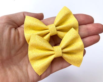 Bright Yellow Glitter Felt Pigtail Hair Bow Set // Spring Easter Piggie Bows Hair Clips // Pigtail Bows Mini Bows Baby Toddler Bow