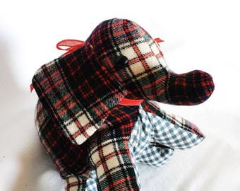 Blue and Red Wool Plaid Stuffed Elephant Plushie - Ready to Ship