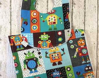 Robot Bib + Burp Cloth Set - Baby Boy Gift - New Dad Gift - Robot Baby Nursery Theme - Bright Colored Drool Bib - Baby Boy BIb