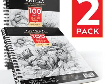"""Arteza Sketch Book, 9X12"""" (68lb/100g, 100 Sheets, 2 Pack)"""