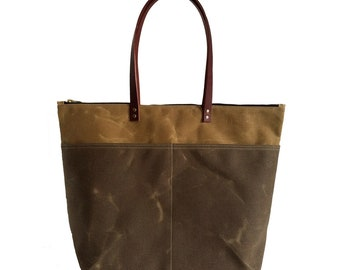 The Overnighter Tote Sand, Waxed Canvas Bag, Waxed Canvas Tote, Canvas Tote Bag, Carry All, Minimalist Style, Zipper Tote