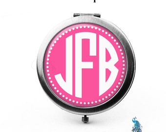 Monogram Compact Mirror Personalized Bridesmaid Gifts Pocket Mirror Cosmetic Mirror Gifts for Her Purse Mirror