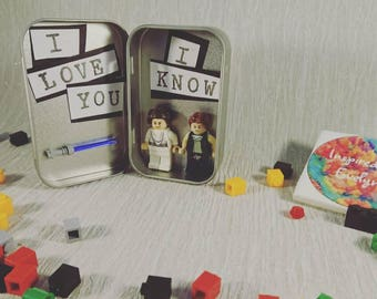 Tin//Star Wars//Han Solo//Princess Leia//Minifigures//Gift/Mothers Day/Anniversary/Fathers Day/Birthday/Personalise//Geek//Love//Couple/Lego
