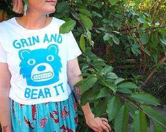 Grin And Bear It Women's T-shirt, Cute Bear Tee, Blue Bear Cropped T-shirt, Summer Crop Top, Funny Pun Tee, Screenprinted T-shirt Ladies