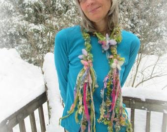 scarf lariat fantasy art yarn garland fantasy flower scarf - enchanted flower garden faerie scarf