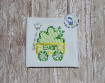 Personalized St. Patrick's Day Shirt with Applique Wagon & Name - Boys St Patrick's Day Shirt - Boys Shamrock Shirt - Boys Wagon Shirt