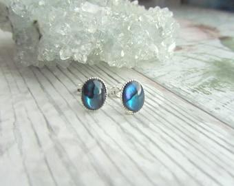 Natural Blue Abalone Stud Earrings - 925 Sterling Silver Gemstone Jewellery - Blue Earstuds
