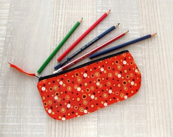 Orange pencil case, Polka dots zipper pouch, Gold change purse, Jewelry storage, White and black wallet, Makeup bag, Cosmetic bag