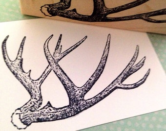 Antlers Wood Mounted Rubber Stamp 3328
