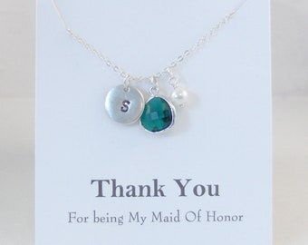Thank you for being my Maid Of Honor,Maid Of Honor Necklace,EmeraldNecklace,Green,Bridesmaid,Initial Necklace,Emerald,Necklace,Bride,Wedding