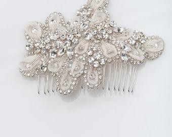 Ivory rhinestone bridal hair comb - wedding hair comb -  Bridal headpiece  - ISSY