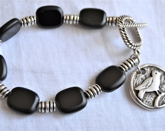 BLACK CZECH GLASS Silver Tube Accents Pewter Bird Charm Contemporary Bracelet