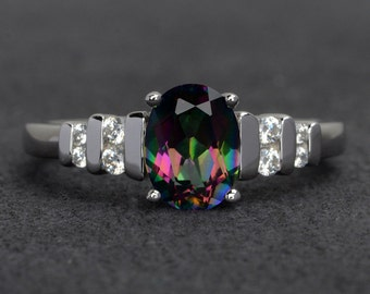 mystic topaz ring rainbow mystic topaz ring engagement ring promise ring for her birthday gift oval mystic topaz rings