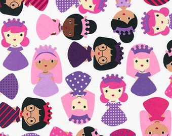 Girl Friends fabric - girls dressed up like princesses - pink purple Slipper - Ann Kelle for Robert Kaufman - by the YARD