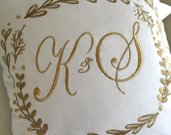 embroidery wedding pillow custom crest gold metallic gold monogram ultrasuede something blue