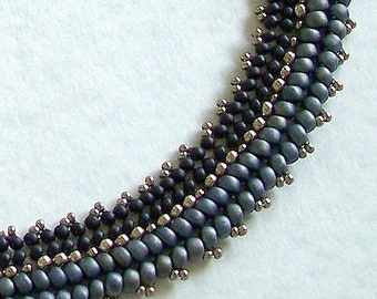 "Black, Gray & Pewter Beadwoven 19"" Collar Necklace by Carol Wilson of Je t'adorn"
