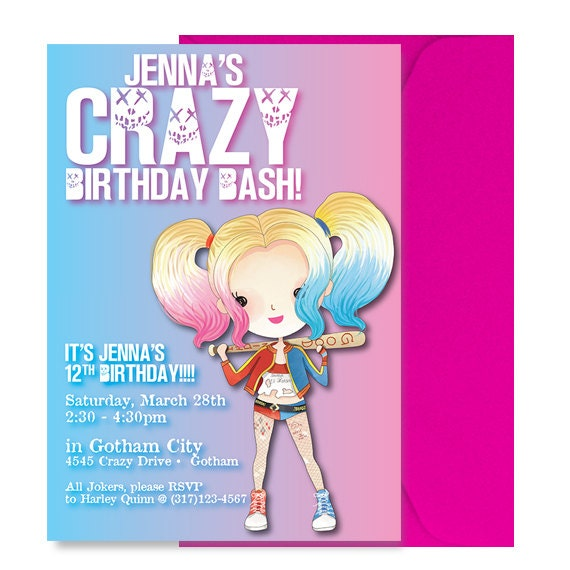 Invitación fiesta Harley Quinn invitación Linda Harley
