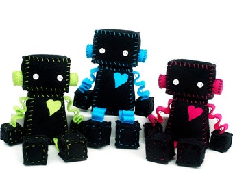 Neon Ninja Plush Robot - Choice of Black with Lime Green, Turquoise or Hot Pink - Stuffed Robot Doll