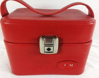 Beautiful Vintage Red Beauty Case Vinyl Red Lipstick Beauty Case Vintage Make Up Case