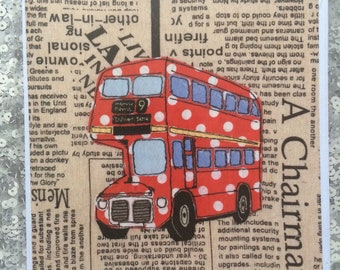 London Bus print Greeting Card from an original piece of  free motion machine embroidery .