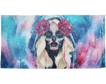Halloween Day of the Dead Sugar Skull Girl Rain All Over Beach Towel
