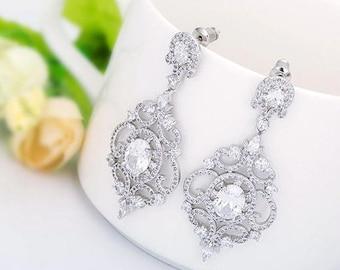 Chandelier Earrings | Crystal Bridal Earrings | Wedding Jewelry | Rose Gold Wedding | Bridesmaid Earrings | Personalized Gift