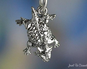Miniature Sterling Silver Horned Toad Charm Lizard Tiny Solid .925