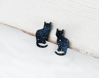 Cat stud earrings Cosmic earrings Small studs cats Cat ear post Kitten earrings Cute gift for her Cat lover gift Earrings for girls Children