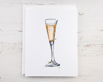 Champagne Glass Note Card