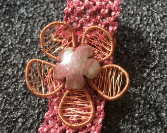 Macrame Rhodonite Copper Wire Bracelet